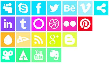 Vivid Neon like Social Media Icons