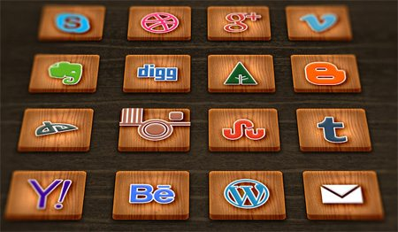 Wood Textured Social Media Icons by GraphicsFuel (Rafi)