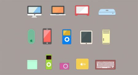 12 Flat Apple Product Icons