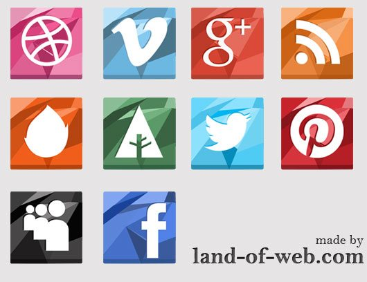 preview: Polygonal Social Media Icons vol.1
