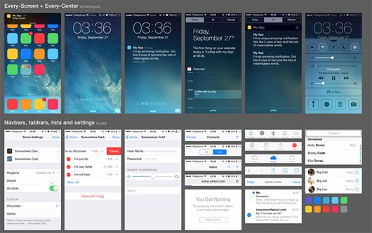 iOS 7 UI (free PSD) by Oz Pinhas