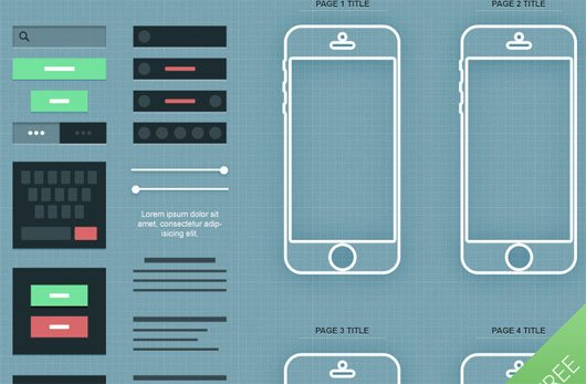 iPhone App Wireframe PSD by Medialoot