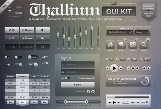 Thallium GUI Kit FREE PSD by despoth