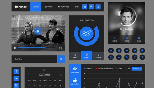 Behance Style Ui Kit .PSD by Emrah Demirag