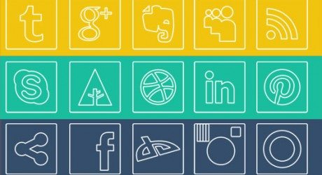 Freebie: Elegant Outline Social Media Icons