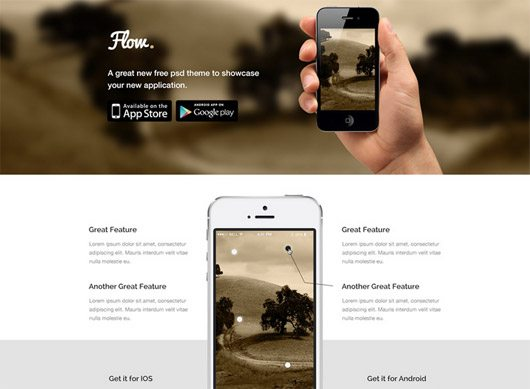 Flow – Mobile App Landing Page Template