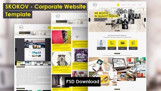 SKOKOV - Free Corporate Web Design Template PSD