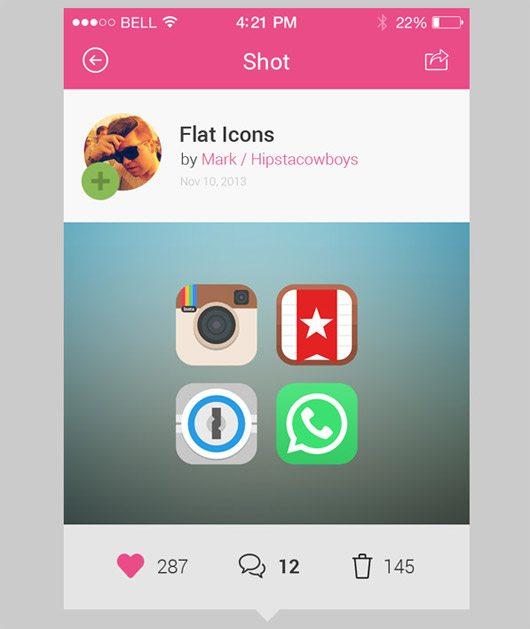 Dribbble App Concept PSD