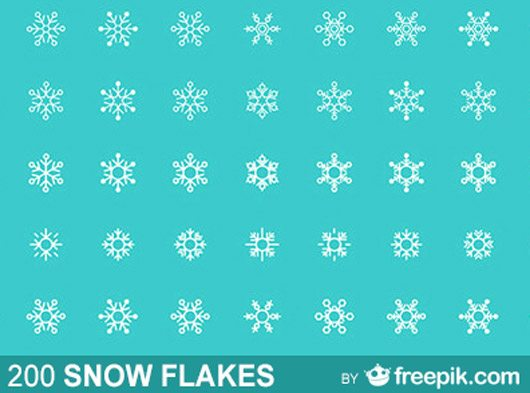 200 Free Snow Flakes in vector format by Freepik