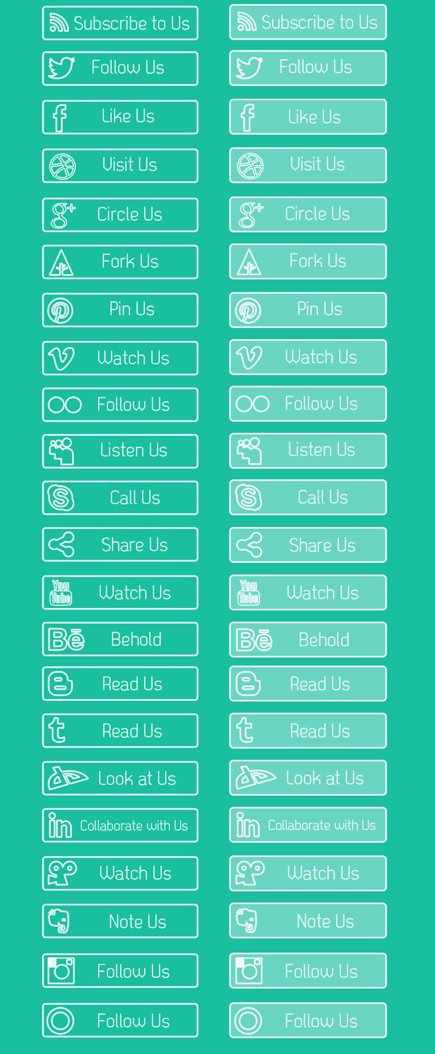 Freebie: Clean Outline Social Media Buttons