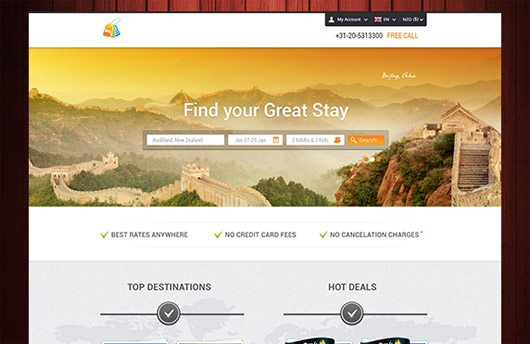 Detailed Hotel Booking Web Layout PSD Template