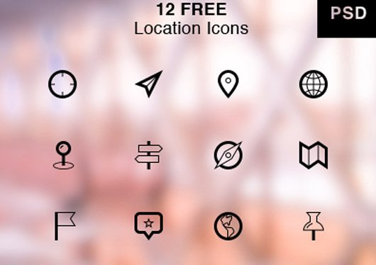 Location Icons Freebie by York Swan