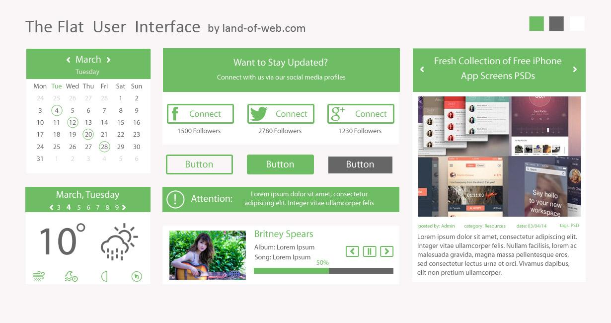 Green Flat User Interface vol.1