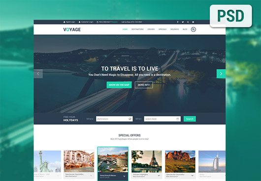 Travel Template PSD by Agile Infoways