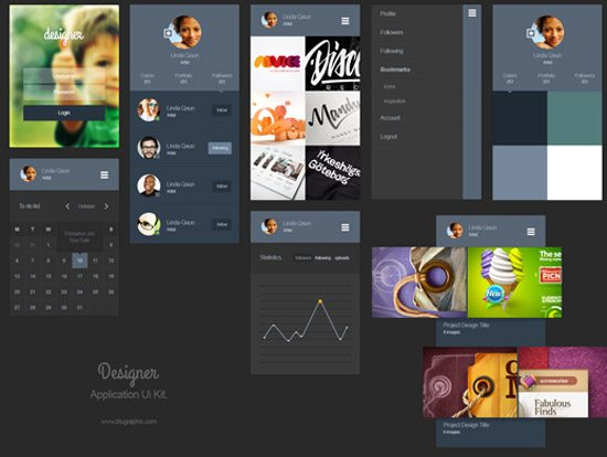 Designer Portfolio App Ui Kit (Psd)
