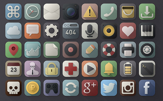 40 long shadows PSD icons
