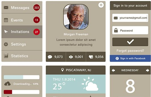 Flat UI Kit Freebie by Sean Fallon