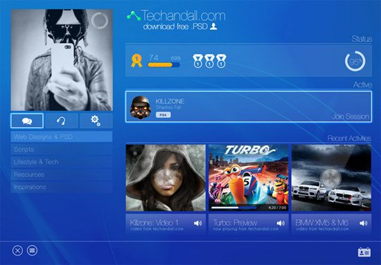 Sony Playstation UI Mockup