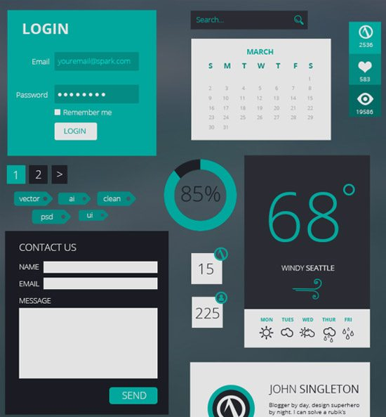 Spark Flat UI Kit by Vector Chameleon