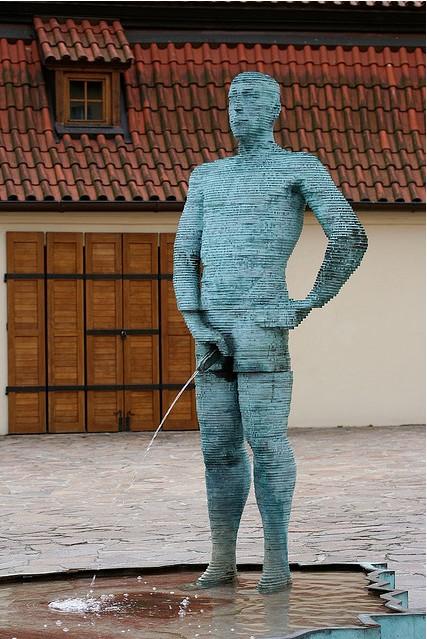 Urinating statue