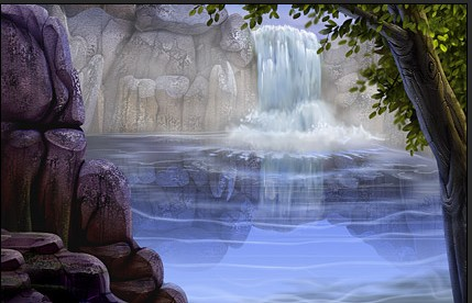 scenic waterfall flowing water