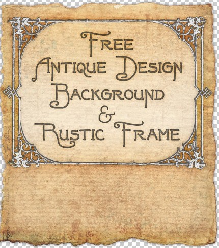 antique paper texture background and rustic frame of wood and leaves