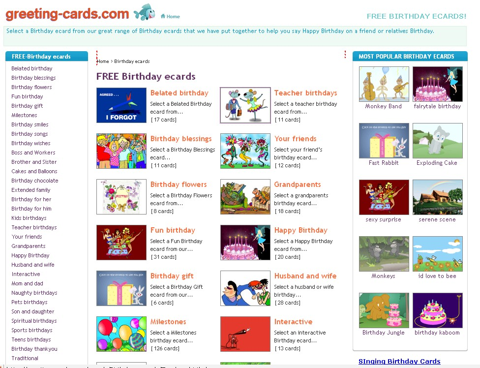 A great deal of free ecards on greeting-cards.com