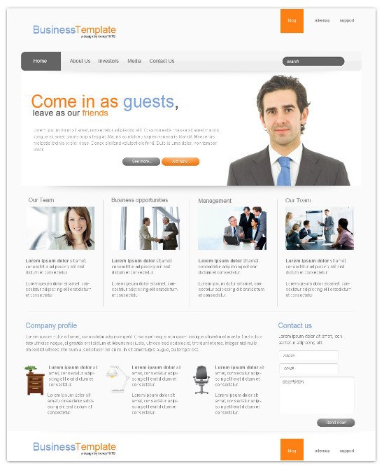 Light business psd template