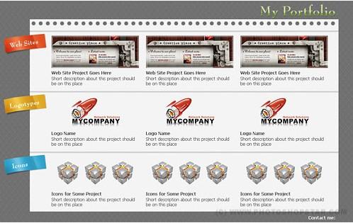Minimalist portfolio web page layout