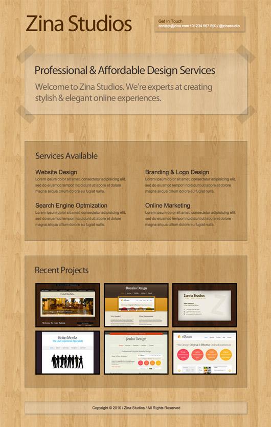 Single page portfolio
