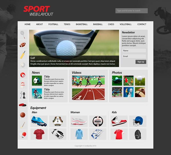 Sport website layout