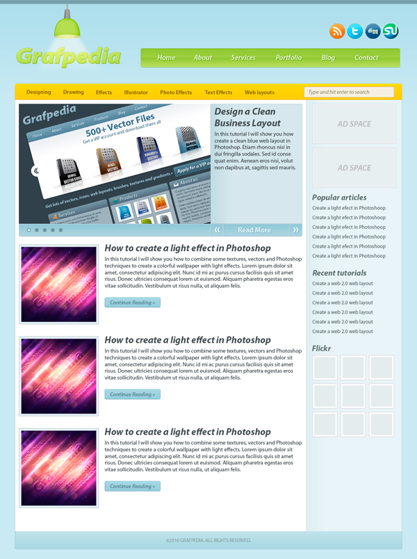 Modern blog layout