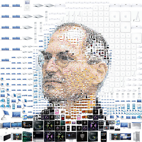 Famouse collage of Steve Job with Apple products