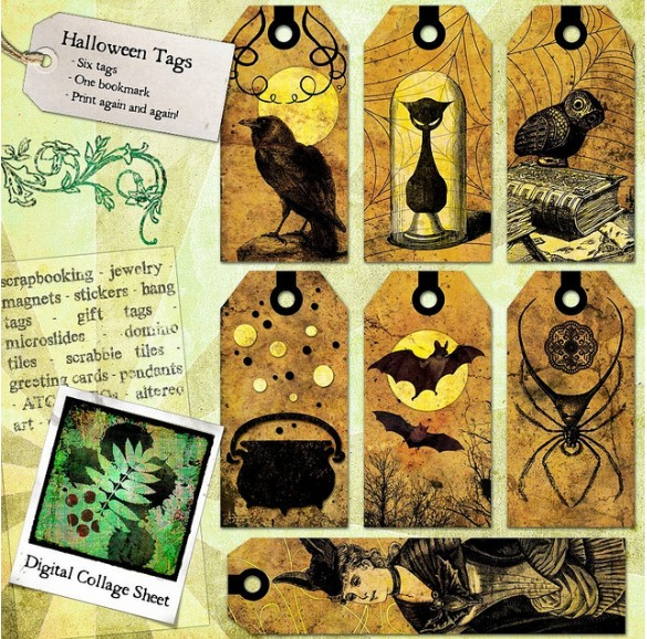 Victorian gothic Halloween tags collage sheet