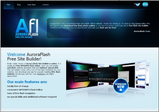AuroraFlash Free Site Builder