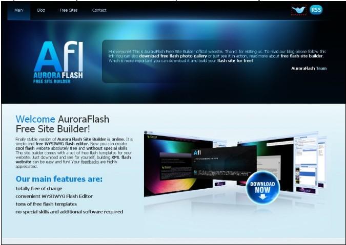 AuroraFlash Free Site Builder