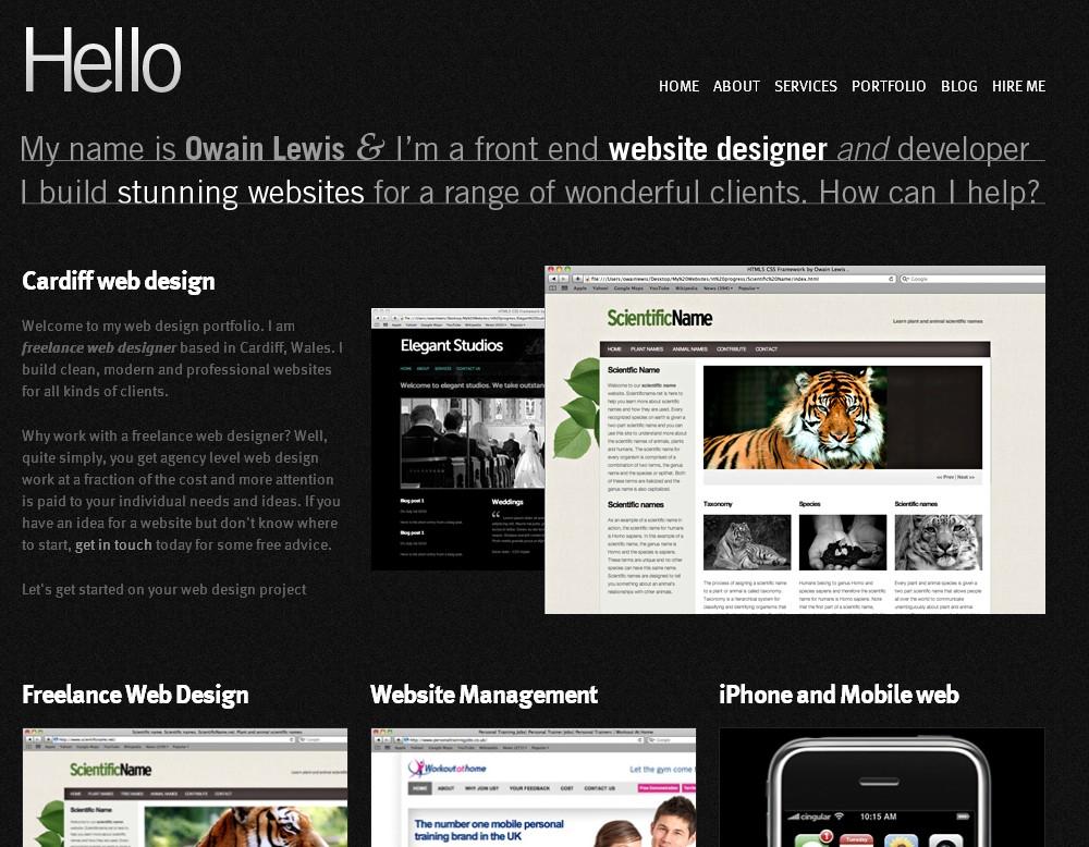 Portfolio of Cardiff freelance web designer.