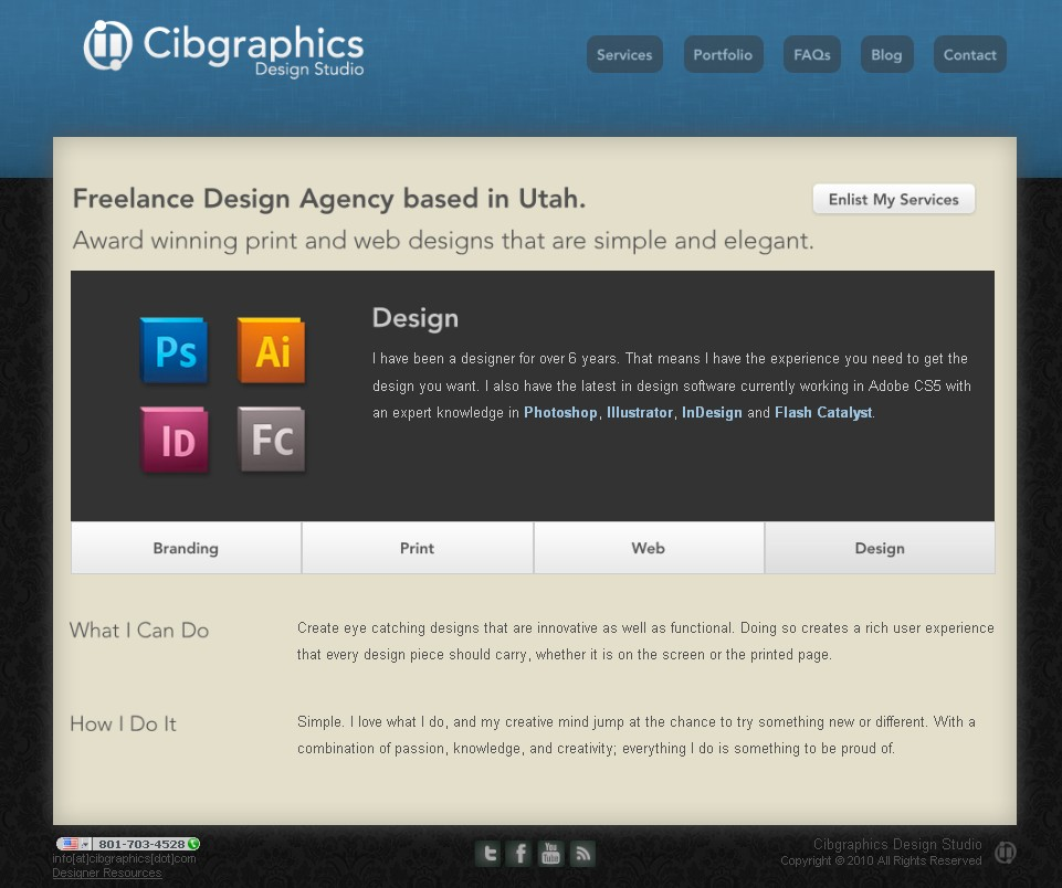Site for a freelance design studio in Utah