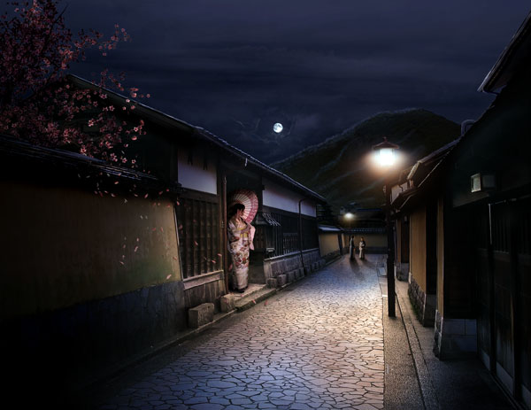 Combine Stock Photography to Create a Sleepy Japanese Village