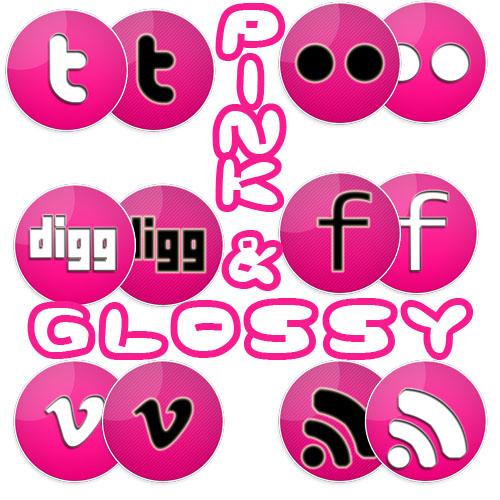 Pink & Glossy social icons