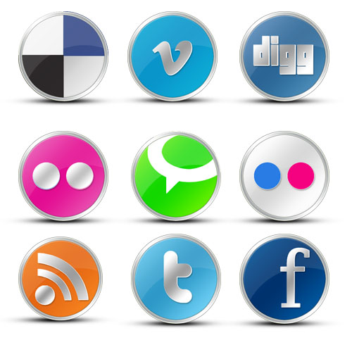 Round Vista like social icons