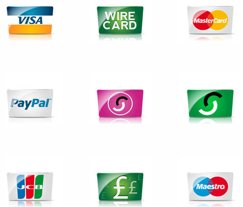 Credit cards and payment icon set