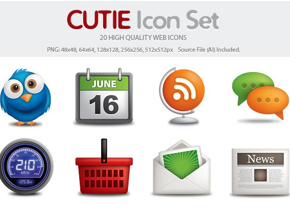Cutie – 20 High Quality Web Icons
