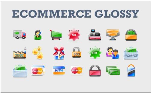 Glossy E-Commerce Icon Set