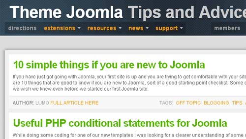 Tips and advice in support at theme Joomla