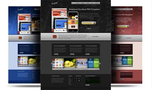 Website PSD Template in 3 colors