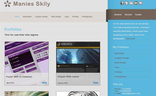 'Manies Skily' – Template for Gallery and Portfolio Website