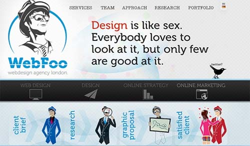 The Website of the agency Webfoo from London