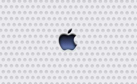 Metallic apple with blue texture