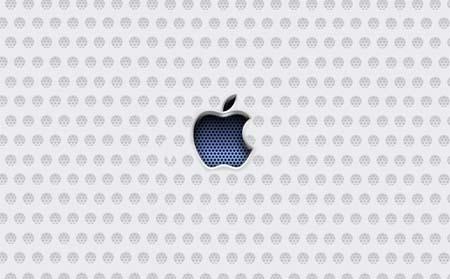 Metallic apple with blue texture